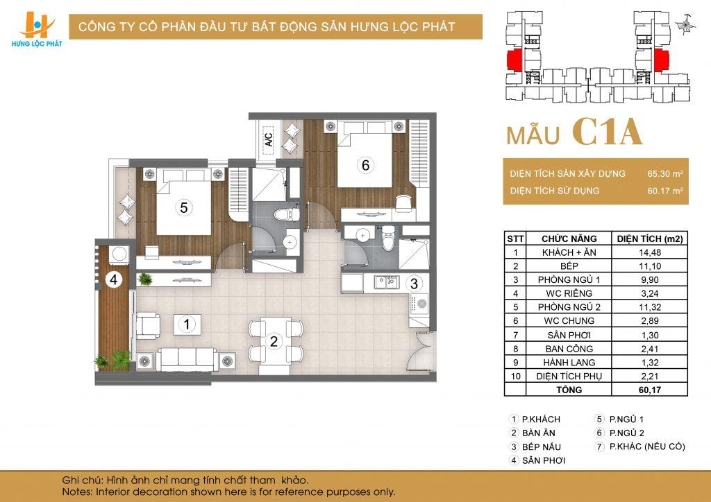 Cho thuê căn hộ Green Star Sky Garden 2 Phòng ngủ 65m2