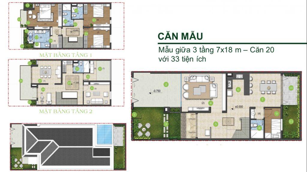 Thiết kế biệt thự Green Star 7x18